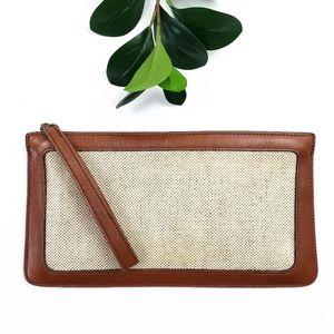 Anne Klein Burlap Leather Wristlet Bag Clutch
